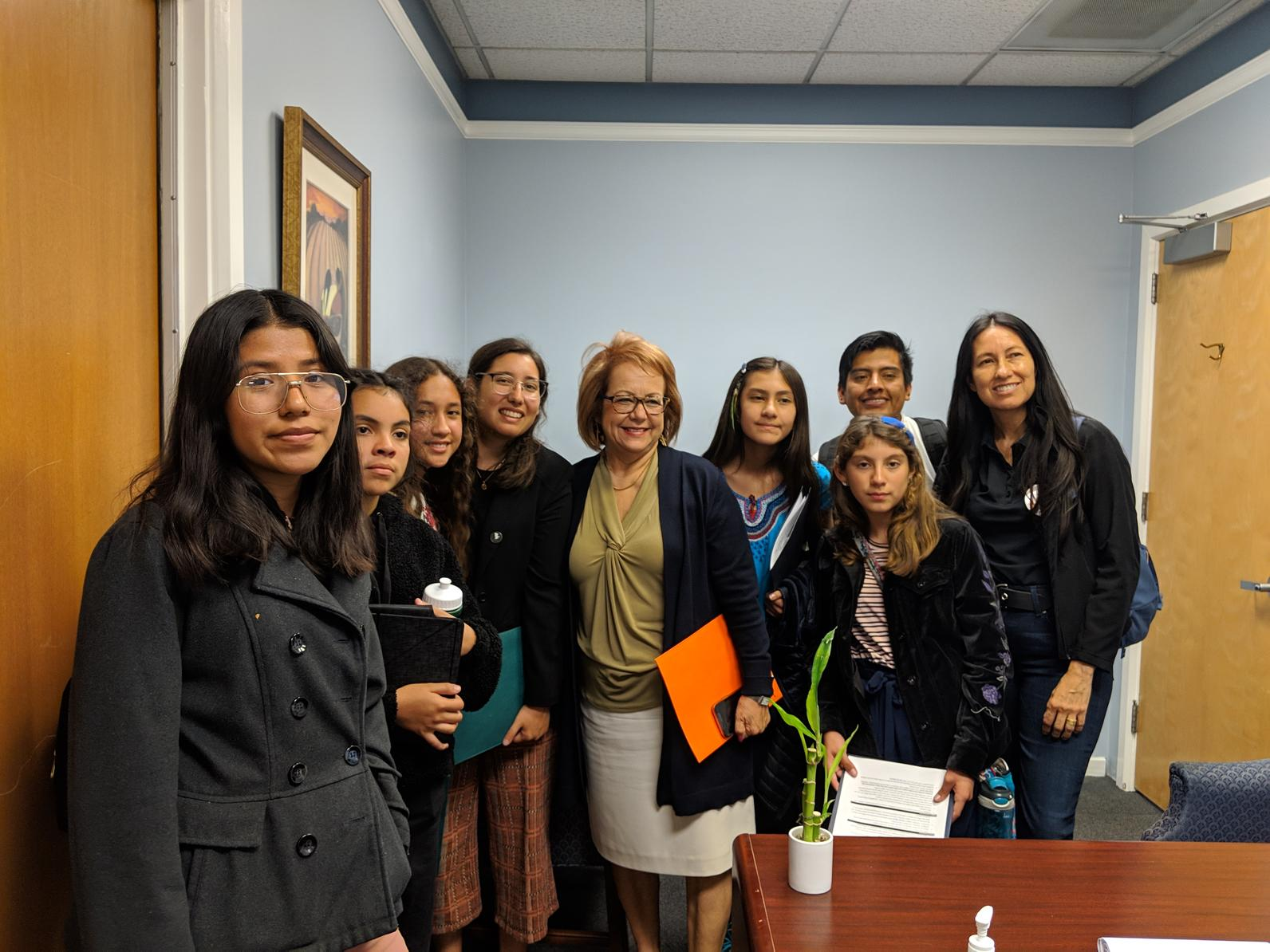 Students speak with State Senator Maria Elena Durazo.