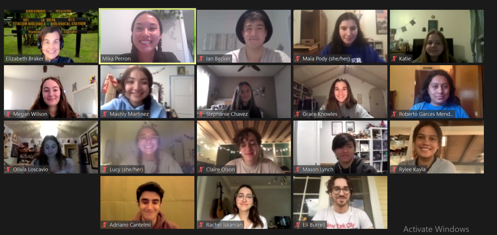 Screenshot of Oxy Conservation Corps Zoom meeting