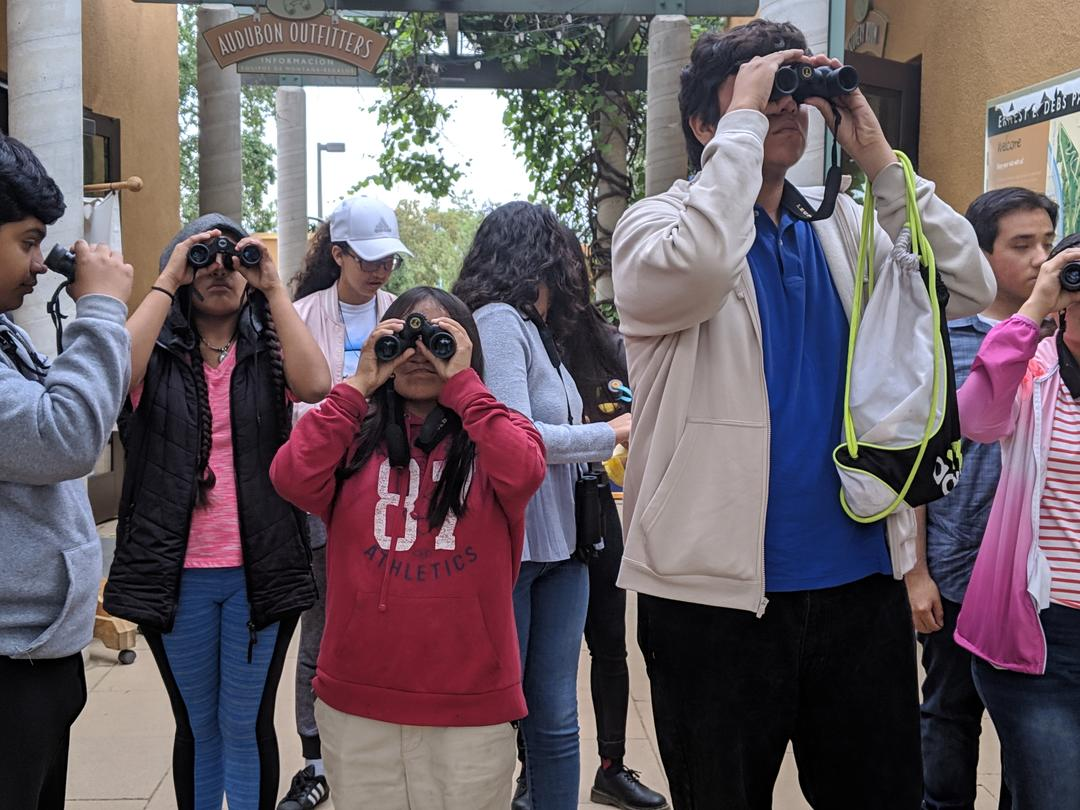 Students look through binoculars during the Center's Bioblitz.